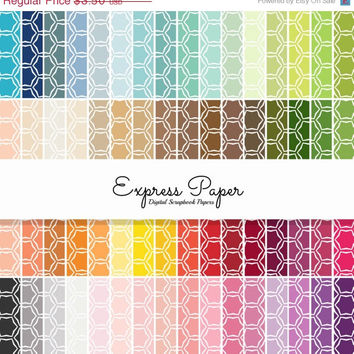 SALE 64 Hexagon Pattern Digital Papers- 12x12 and 8.5x11 included-Digital Paper Rainbow includes dark, bright, neutral and pastel colors.