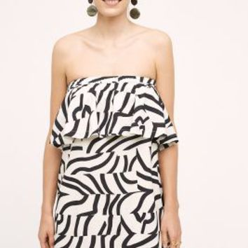 Maeve Curled Stripes Dress in Black & White Size: