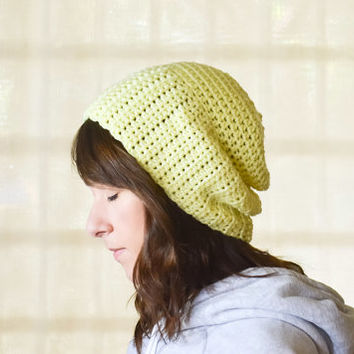 Yellow Beanie Skull Cap Crochet Hat Sunshine Accessory Women Knit Fall Accessories Winter Fashion Nautical Style Handmade Gift Under 20