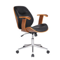 Bentwood Walnut-Color Home Office Chair - Leatherette Cushion Seat with Wood Arm Rest- [CH0160]-