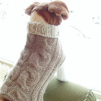 Dog Sweater Hand Knit Latte Cable Medium Pure Wool by jenya2