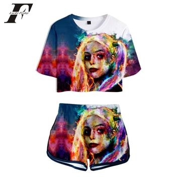 2018 BTS Kpop Crop Tops 3D Suicide Squad two piece set Shorts And Short T-shirt  Harajuku 2 piece set women Hip Hop Plus Size