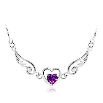 Women Platinum plating  Jewelry Fashion Angel Wing Heart Pendants Necklace Lover