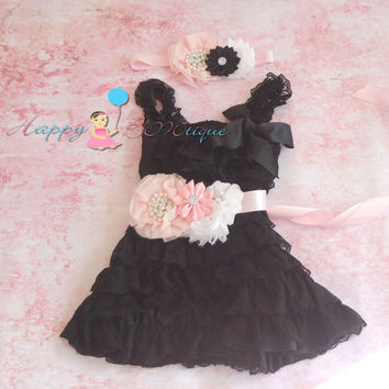 Blush Pink and Black lace dress, Flower girls dress, Black lace Dress,baby dress, Birthday outfit, Thanksgiving, fall outfit, Halloween