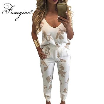 FANCYINN Summer 2018 2 Piece Sexy Spaghetti Strap Pocket Long Rompers Print Playsuits Bodysuits Macacao Jumpsuit Overalls Women