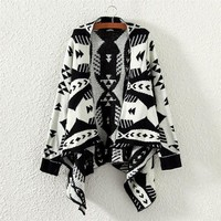 Knitted Ethnic Geometry Cardigan Sweater