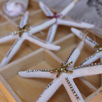 "Natural Beach Starfish Christmas Tree Ornaments 4-5"" Rhinestone or Natural White with Ribbon, Beach Wedding Seaside Coastal Decor, Gift"