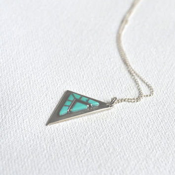 vintage inlay turquoise triangle necklace // vintage navajo // native american