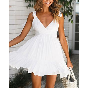 New fashion solid color straps dress women White