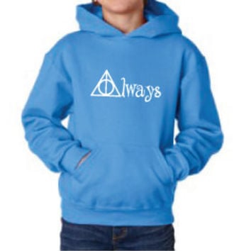 Harry Potter Inspired Kids Clothing - Deathly Hallows Always Hooded Sweatshirt - Unisex Youth