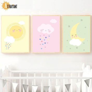 Sun Cloud Moon Wall Art Canvas Painting Nordic Poster And Prints Wall Pictures For Kids Bedroom Baby Boy Girl Room Home Decor
