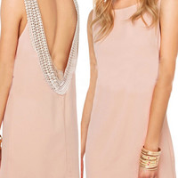 'The Amber' Pink Sleeveless Backless Chiffon Mini Dress