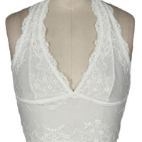 Halter Lace Bralette in White