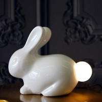 Ceramic Bunny Rabbit Table Lamp with Light Up Tail