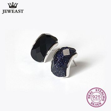 925 Sterling Silver Agate Stud Earrings For Women Jewelry Square Round Heart Retro Fine Jewery Unisex Accessories Brincos Men