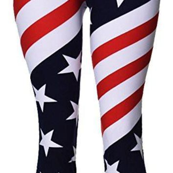 American Flag Capri Cropped Leggings