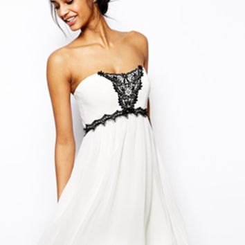 ASOS Bandeau With Embellished Lace Dress