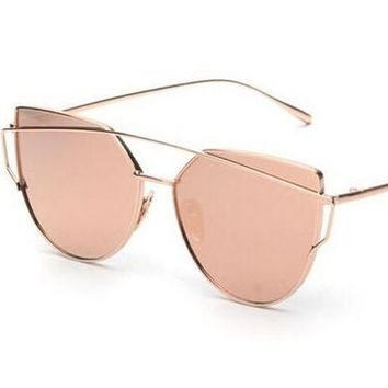 mecol fashion women cat eye sunglasses classictwin beams rose gold frame sun glasses for women mirror flat lense sunglass gift  number 1