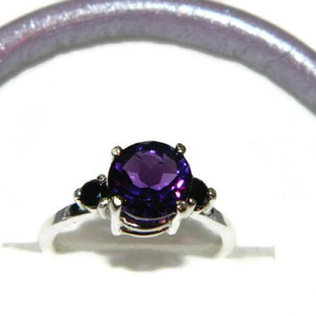 African Amethyst Ring, Black Spinel Accents, Cocktail Ring, Anniversary Ring, Sterling Silver