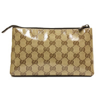 Gucci Brown Leather and Canvas Makeup Case