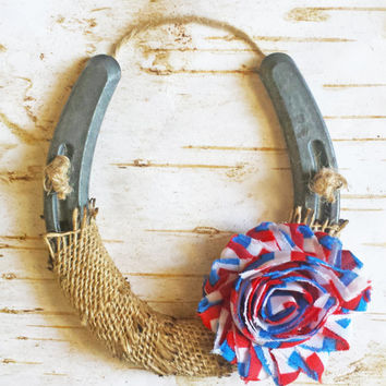 Patriotic Shabby Chic Horseshoe, Burlap and Red White Blue Flower, Housewarming Gift, 4th of July, Western Wall Hanging, Good Luck Horseshoe