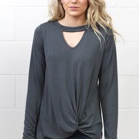 Get Twisted Long Sleeve Keyhole Top {Charcoal}