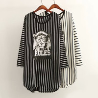 Striped Lion Print Long Sleeve Mini Dress