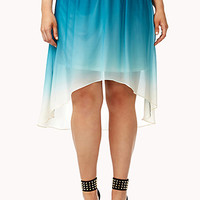 FOREVER 21 PLUS Dreamy Ombre High-Low Skirt Teal/Cream