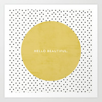 GREEN HELLO BEAUTIFUL - POLKA DOTS Art Print by Allyson Johnson