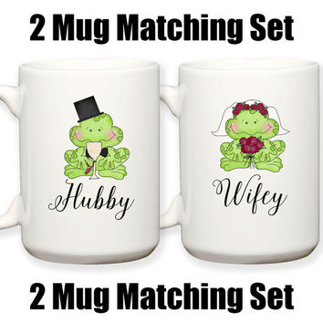 Bride and Groom Matching Frog Mugs Wifey Hubby Wedding Gift Husband and Wife Anniversary Gift 15 oz Coffee Tea Mug Dishwasher Microwave Safe