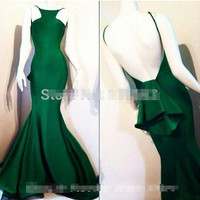 High quality Dark Green Mermaid Prom Dresses 2017 Sexy Backless Graduation Dress Sexy Free Prom Dress