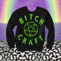 UNISEX Black Bitchcraft Sweatshirt // Slimepunk Drippy Pentagram // Bitch Craft // fASHLIN