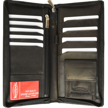 Zip Around Leather Travel Wallet with Passport and Boarding Pass Holder 663 CF (C)
