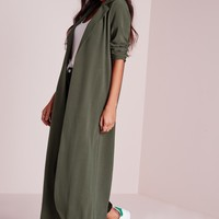 Missguided - Long Sleeve Maxi Duster Coat Khaki