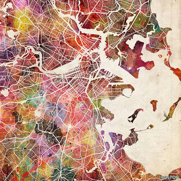 BOSTON Map, Boston painting, Watercolor painting, Giclee Fine Art, Modern Abstract, Poster Print, Wall Art, Home Decor, Decoration