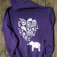 SALE! Purple Sweatshirt with a White Paisley Elephant Graphic Swirly Design