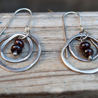 Sterling silver earrings, Red Garnet earrings, Oxidised silver earrings, Oxidised silver, Handmade dangle earrings, Rustic earrings