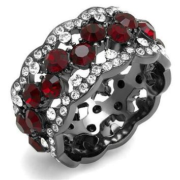 Red Ruby & Russian Lab Diamond Eternity or Wedding Band Ring
