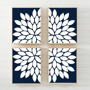 NAVY White Flower Wall Art, Flower CANVAS or Prints, Navy White Bathroom Decor, Navy Bedroom Wall Decor Set of 4 Floral Living Room Wall Art