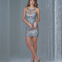 Preorder - Madison James 16-340 Royal & Nude Beaded Embroidery Keyhole Back Dress 2015 Homecoming Dresses
