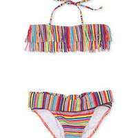 Roxy Kids Swimsuit, Girls Striped Fringe Two-Piece - Kids Girls 7-16 - Macy's