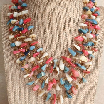 Mother of Pearl Necklace Seed Beads Red White Blue 5 Strand Japan Vintage 130603