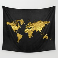 Black Gold Decor, Gold World Map, Office Decor, Bathroom, Glam, Black Wall Art Wall Tapestry by PeachAndGold