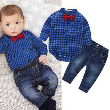 baby boys clothing set plaid rompers with bowtie + demin pants 2017 fashion baby boy clothes newborn baby clothes
