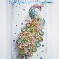Colorful Swarovski Crystal Peacock Phone Case (For Samsung Galaxy 3 only)