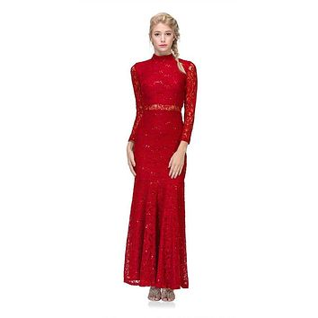 Long Sleeve Lace Full Length Dress Red Mock 2 Piece High Neck