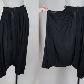 SALE Vintage 70s Harem Pants / 1970s Sheer Black Indian Rayon Gauze Drop Crotch Pants S