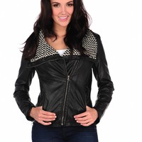 Vintage Havana Knit Collar Leather Jacket