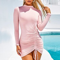 Autumn And Winter New Fashion Women Solid Color  Long Sleeve Dress Pink