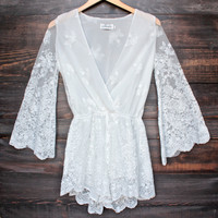 lioness road to nowhere gauzy lace romper with bell sleeves in white